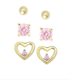 3-Pair Pink CZ Stud Earrings Set 18K Gold over Sterling Silver - My Berry Bow