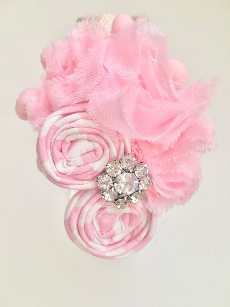 Baby Pink and White Rhinestone Elastic Headband - My Berry Bow