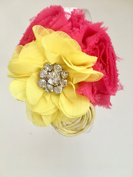 Dark Pink and Yellow Rhinestone Elastic Headband - My Berry Bow