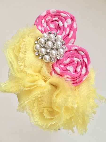 Yellow and Pink Rhinestone Elastic Headband - My Berry Bow