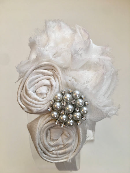 White Rhinestone Elastic Headband - My Berry Bow