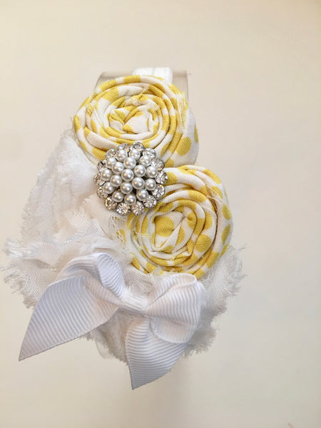 White and Yellow Rhinestone Elastic Headband - My Berry Bow