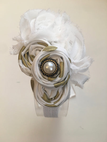 White and Gold Elastic Headband - My Berry Bow