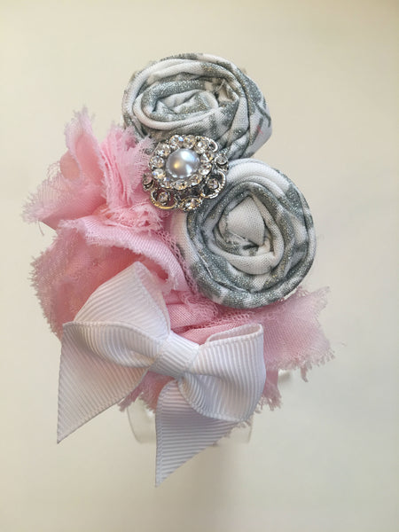 Soft Pink and Gray Elastic Headband - My Berry Bow