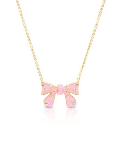 Bow with CZ Pendent (Pink) - My Berry Bow