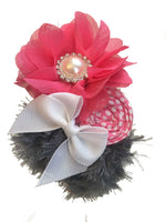 Pink White and Gray Rhinestone Elastic Headband - My Berry Bow