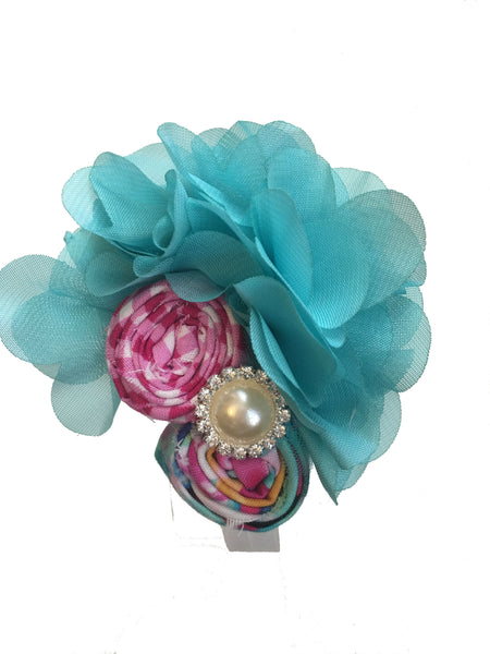 Turquoise and Pink Elastic Headband - My Berry Bow