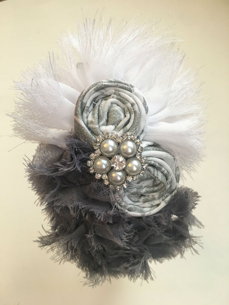 White and Gray Rhinestone Elastic Headband - My Berry Bow