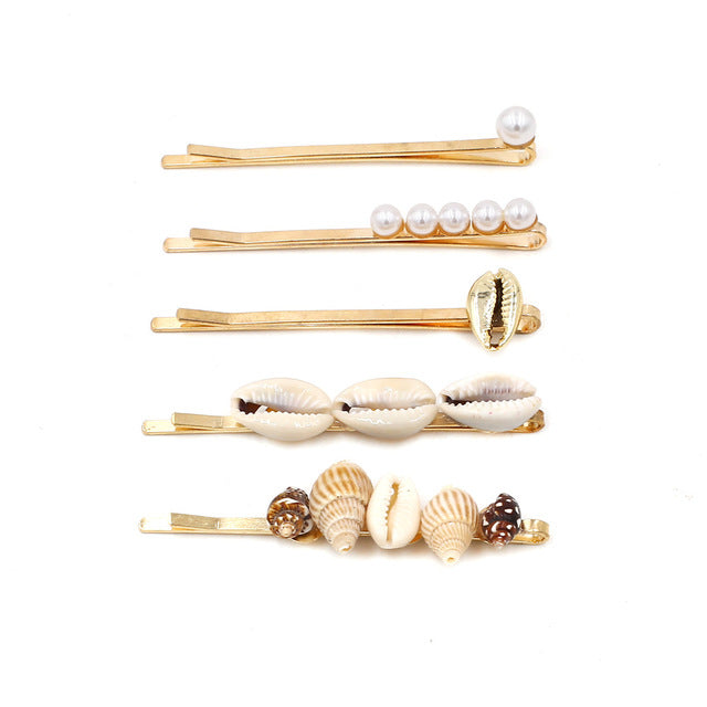 Shell Hairpin Clips 5-Piece Set