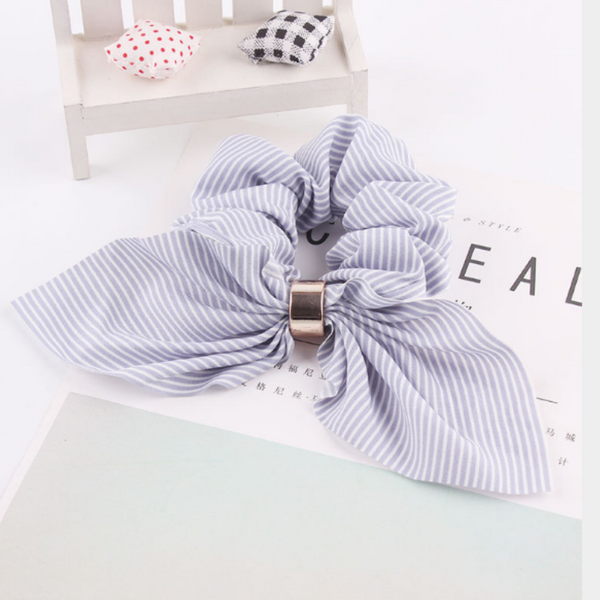 Floral Scrunchies Collection - Navy Stripes