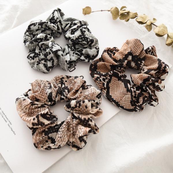 Snakeskin Pattern Scrunchies 3-Piece Set - 3-Piece Bundle Pack