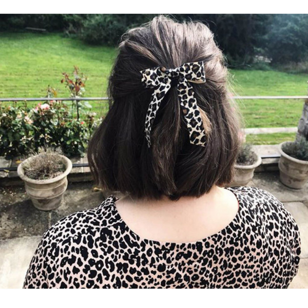 Long Bow Ponytail - Leopard Print