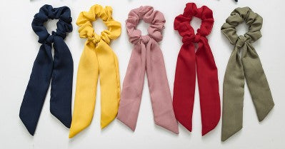 Chiffon Knotted 5-Piece Scrunchies - 5 Piece Set