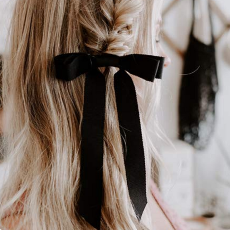 Long Bow Ponytail - Black