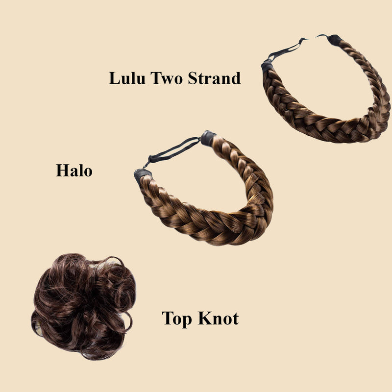 Madison Braid Bundle - Lulu Two Strand, Halo, Top knot - Brunette