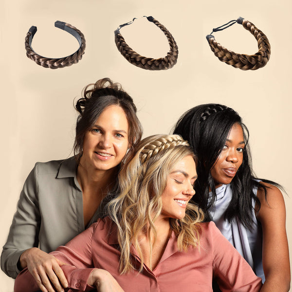 Madison Braid Bundle - Lulu Two Strand, Halo, Lulu Hard Headband - Ashy Light Brown