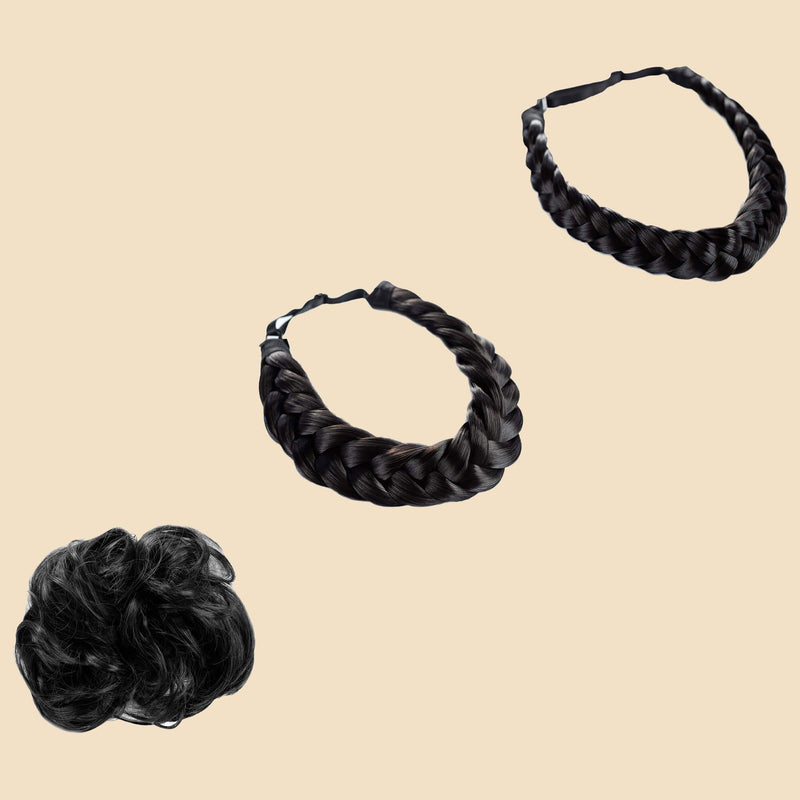 Madison Braid Bundle - Lulu Two Strand, Halo, Top knot - Black