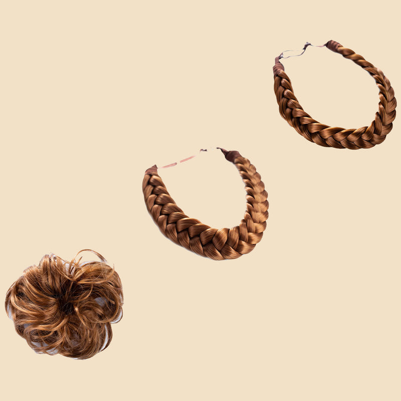 Madison Braid Bundle - Lulu Two Strand, Halo, Top knot + FREE Detangler Brush - Golden Red