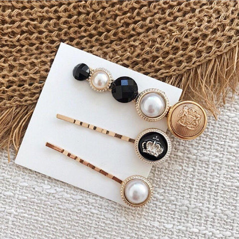 Layla Modern Pearl-Star Hair Pins