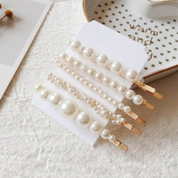 Avery Pearl Beads Hair Clip Set - Bundle Pack - Pearl White