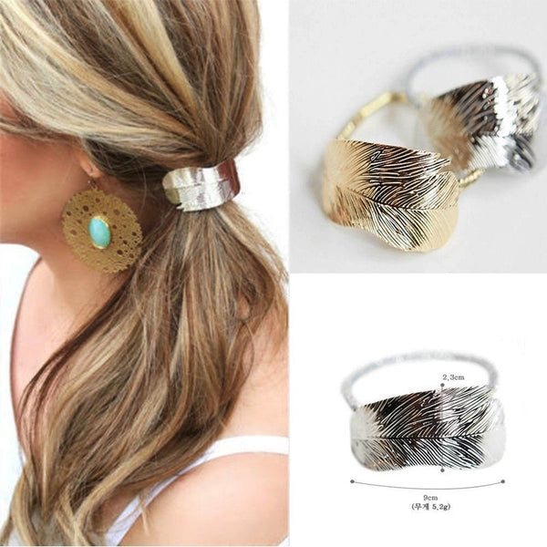 Aubrey Autumn Leaf Ponytail - Silver