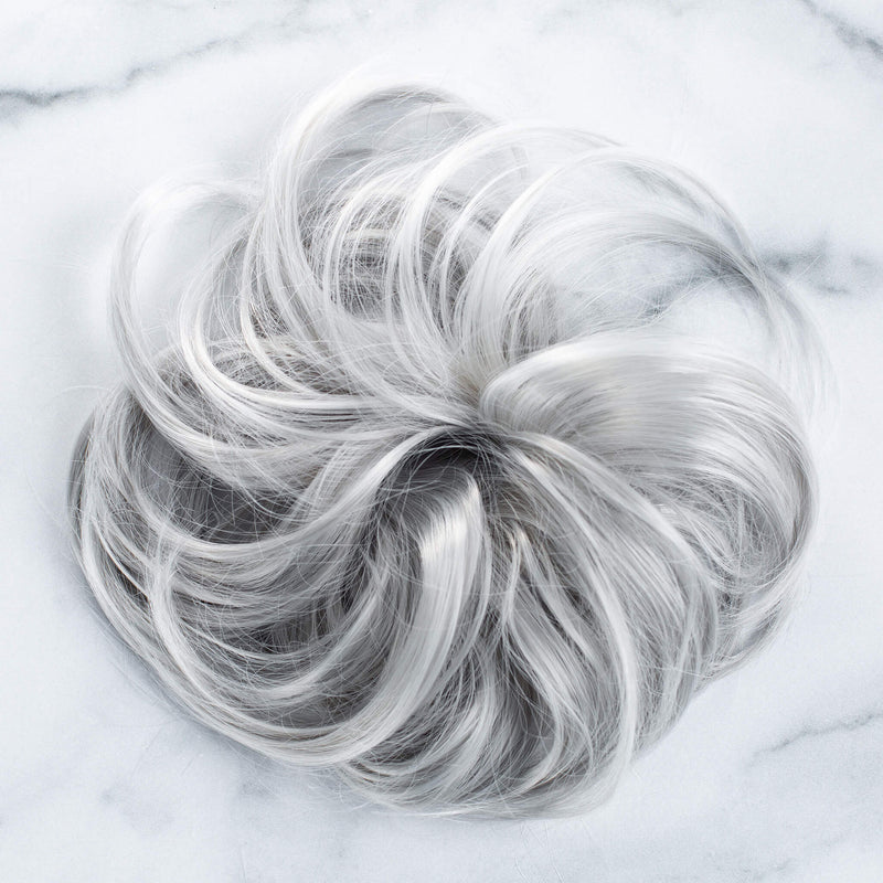 Top Knot Ponytail Holder - Silver Grey