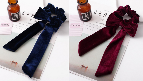Velvet Bow Scrunchie Set - Blue & Maroon Set