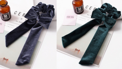 Velvet Bow Scrunchie Set - Blue/Grey & Green Set