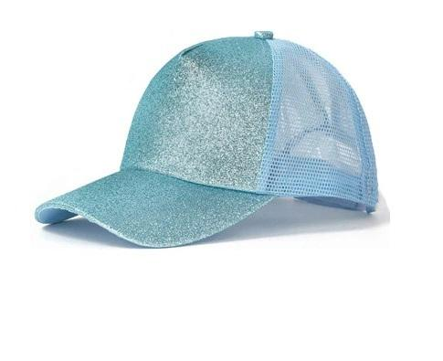 Clarisse Glitter Ponytail Baseball Cap - Light Blue