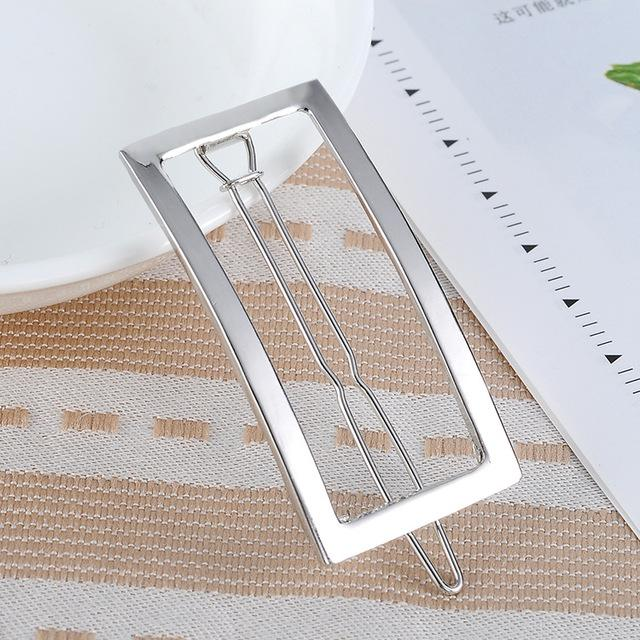 Rogue Rectangular Hair Clip - Silver