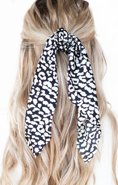Leopard Print Scrunchie - Black & White