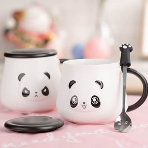 Happy and Angry Panda Mug with Paw Spoon - ToDoTea