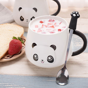 Happy Panda Mug with Paw Spoon and Strawberry - ToDoTea