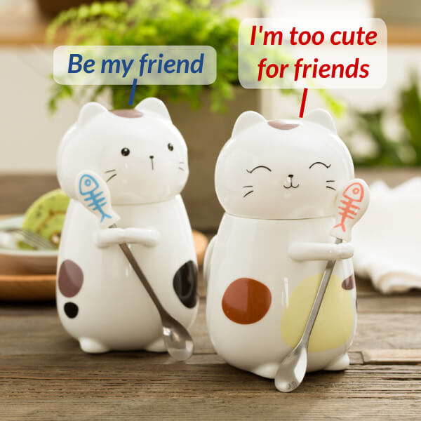 Sassy Cartoon Kitty Mugs Friends - ToDoTea