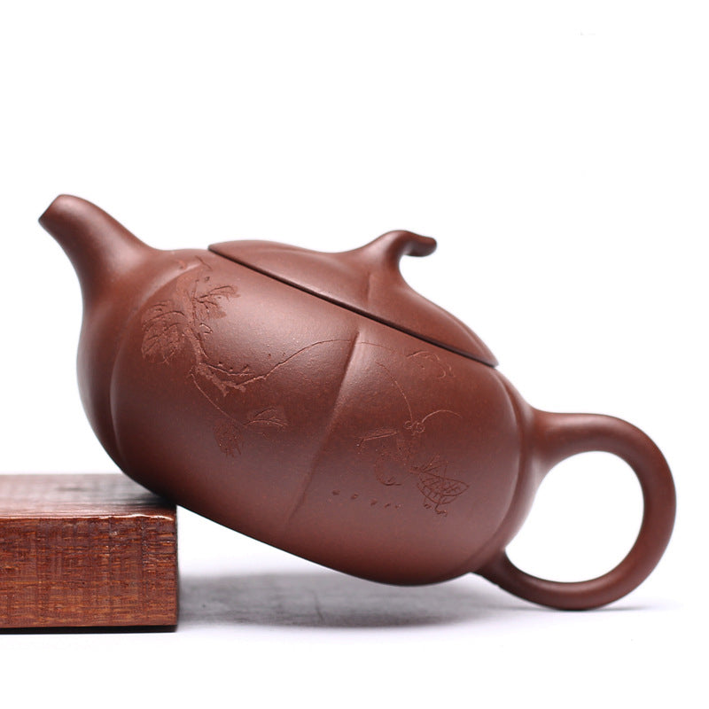 Flat Persimmon Yixing Zisha Teapot Side View - ToDoTea