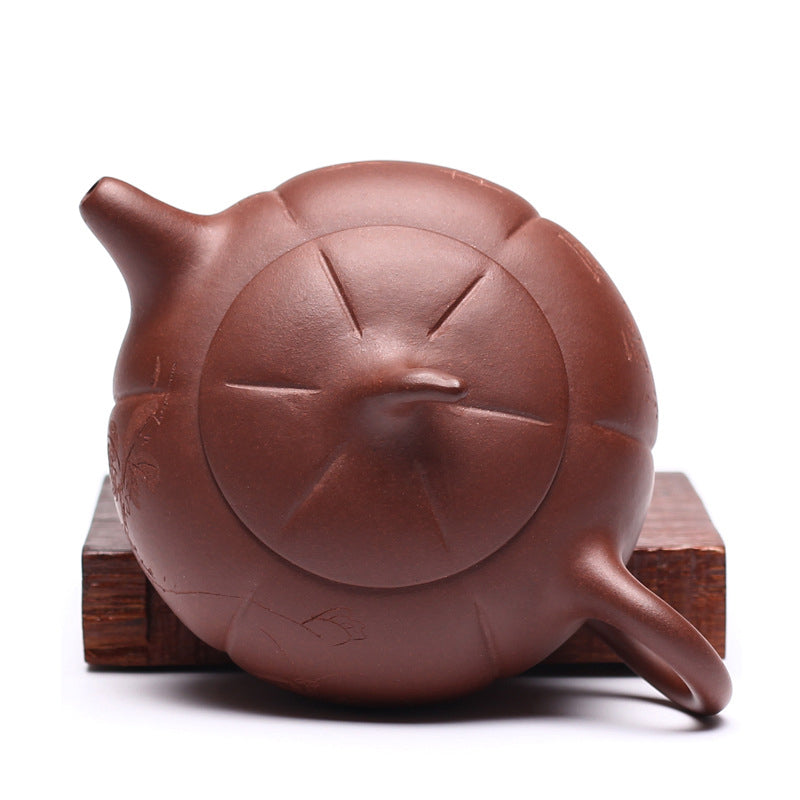 Flat Persimmon Yixing Zisha Teapot Top View - ToDoTea