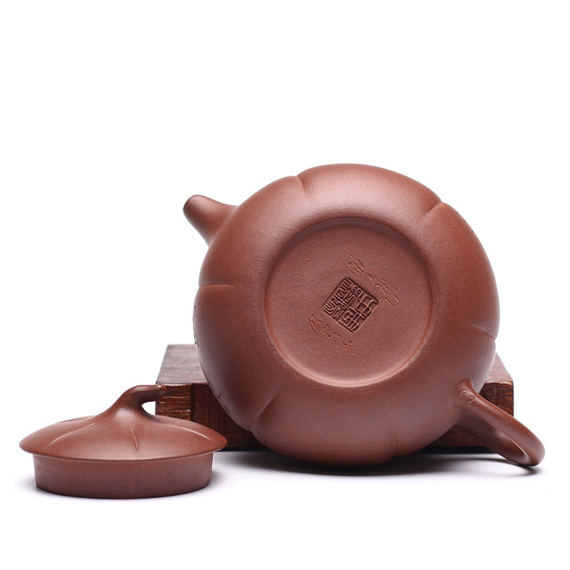 Flat Persimmon Yixing Zisha Teapot Bottom View - ToDoTea