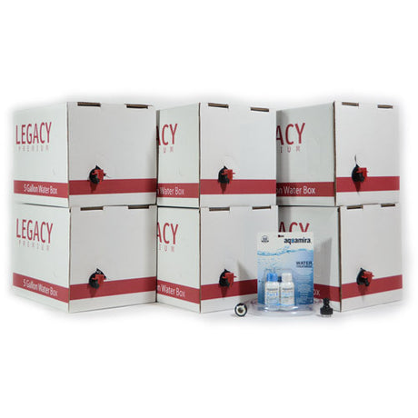 Long Term Emergency Water Supply Boxes with Fill Hose and Treatment Kit