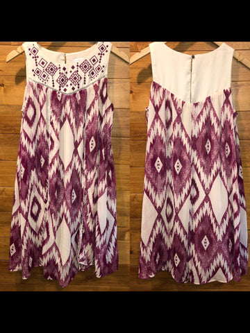 Size M xhilaration white & pruple Dress