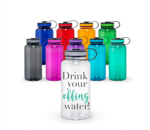 Blank or Personalized Drink Your Effing Water 34 oz Wide Mouth Tritan Water Bottle with Tracker Measurements