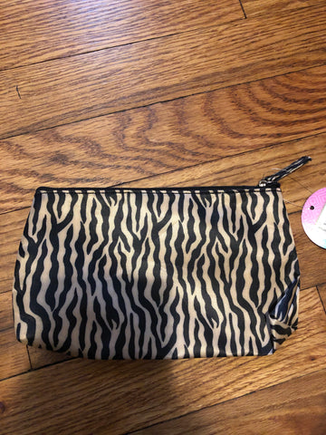 Tan Zebra Cosmetic Bag | Make up Pouch