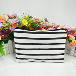 Black and White Striped Canvas Zipper Pouch