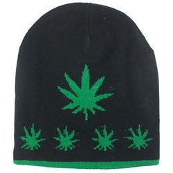 Green MARIJUANA BEANIE WEED LEAF CANNABIS KNIT WINTER HAT SKI CAP
