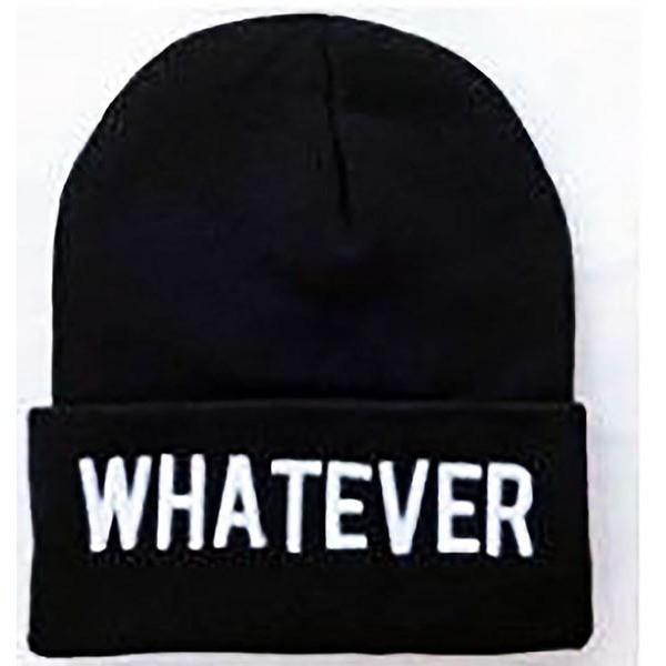 NEW ALL SEASON BEANIE HAT **WHATEVER** BLACK HAT WITH WHITE TEXT -ONE SIZE FITS ALL