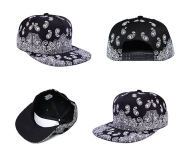 1PC Paisley Black Snapback Bboy Hiphop Hat Adjustable Baseball Cap Unisex