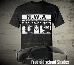 NWA Mens T-shirt Hip Hop Rappers Eazy E Ice cube Dr Dre Hip Hop Legends