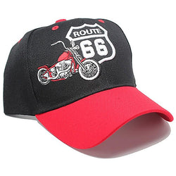 ROUTE 66 Baseball Cap Black Red Route 66 Motorcycle - LocsShades.net