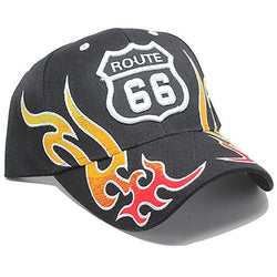 ROUTE 66 WITH FLAMES BASEBALL CAP ( BLACK ) - LocsShades.net