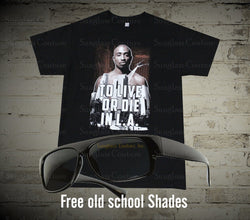 Tupac To Live or Die In L.A Men's T-Shirt Black - LocsShades.net