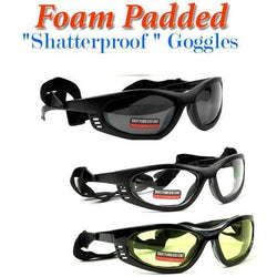 Shatterproof Motorcycle Foam Padded Goggles - LocsShades.net